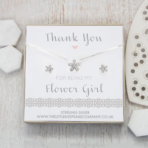 Sterling Silver & CZ Flower Gift Set - 'Thank You For Being My Flower Girl'