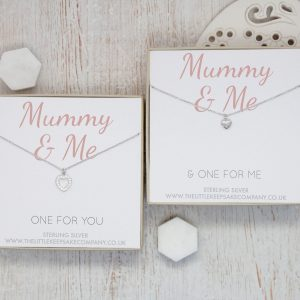 Sterling Silver & CZ Necklace Gift Set - 'Mummy & Me'