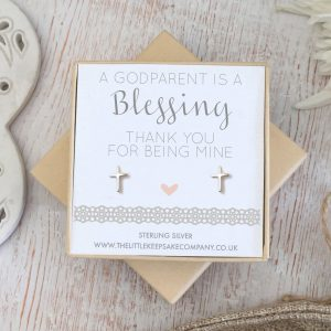 Sterling Silver Christening Earrings - 'A Godparent Is A Blessing'