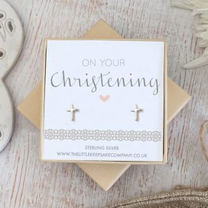 Sterling Silver Christening Earrings - 'On Your Christening'