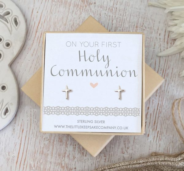 Sterling Silver Christening Earrings - 'On Your First Holy Communion'