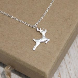 Sterling Silver Christmas Reindeer Necklace