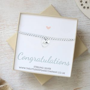 Sterling Silver 'Congratulations' Ball Slider Bracelet With Charm