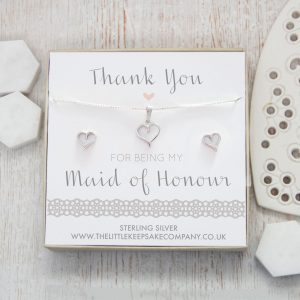 Sterling Silver Cut Out Heart Gift Set - 'Thank You For Being My Maid Of Honour'
