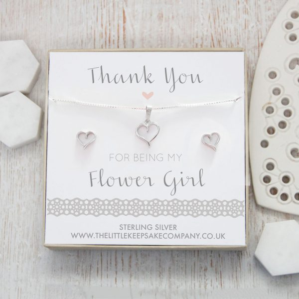 Sterling Silver Cutout Heart Gift Set - 'Thank You For Being My Flower Girl'