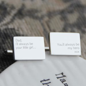 Sterling Silver 'Dad, I'll Always Be Your Little Girl' Cufflinks