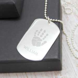 Sterling Silver Engraved Dogtag Necklace - 1 Print