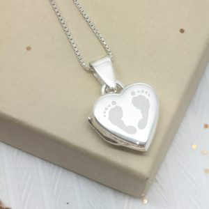 Sterling Silver Engraved Double Footprint Heart Locket