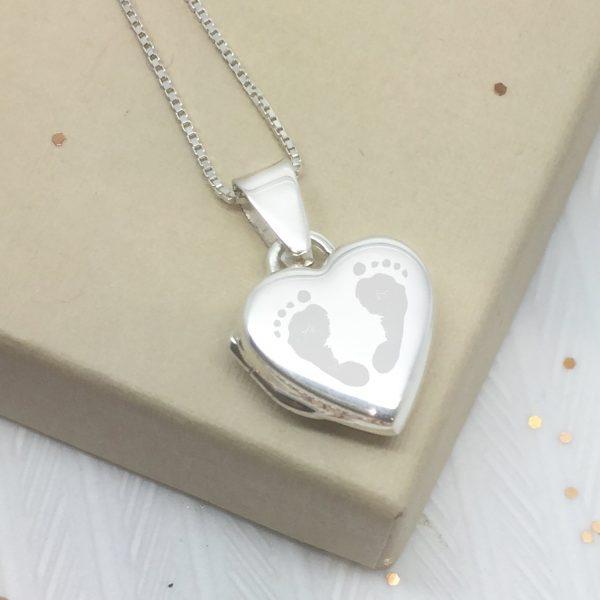 Sterling Silver Engraved Double Footprint Heart Locket