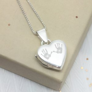 Sterling Silver Engraved Double Handprint Locket