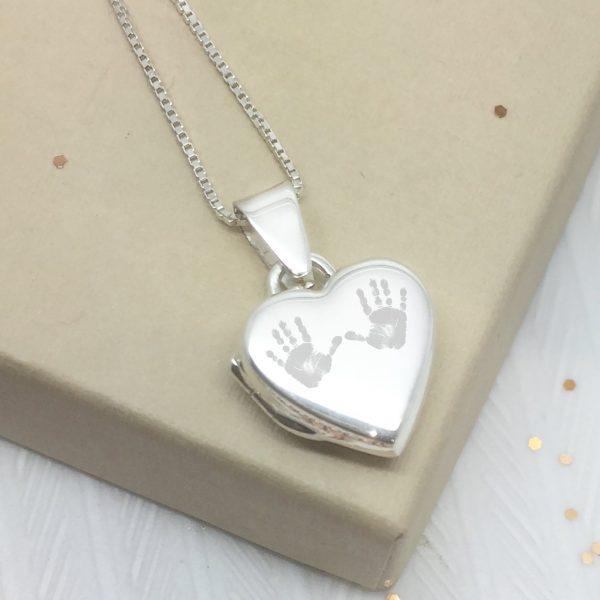Sterling Silver Engraved Double Handprint Locket