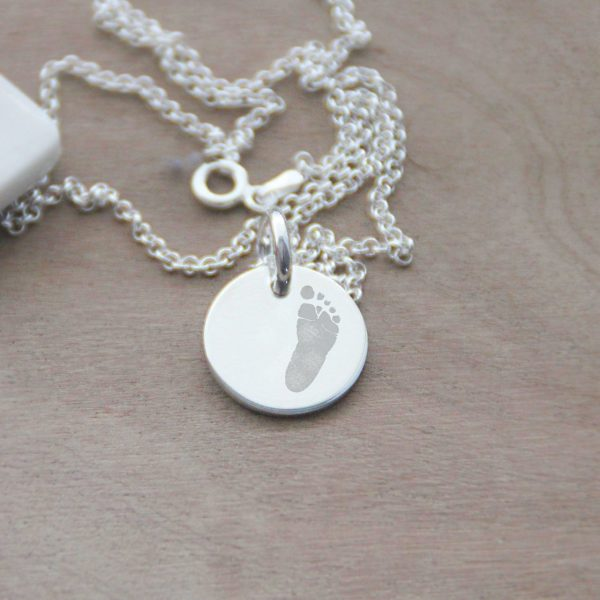 Sterling Silver Engraved Foot Print Disc Necklace