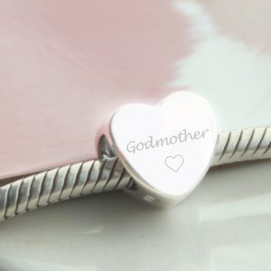 Sterling Silver Engraved 'Godmother' Bead
