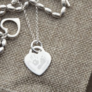 Sterling Silver Engraved Hand & Foot Necklace – 2 to 4 Children