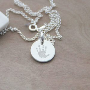 Sterling Silver Engraved Hand Print Disc Necklace