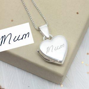 Sterling Silver Engraved Handwriting Heart Locket