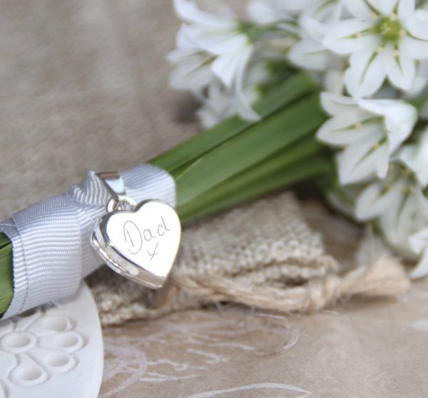 Sterling Silver Engraved Handwriting Heart Locket Bouquet Charm