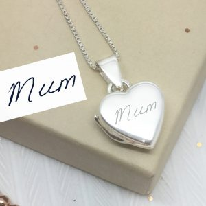Sterling Silver Engraved Handwriting Heart Locket