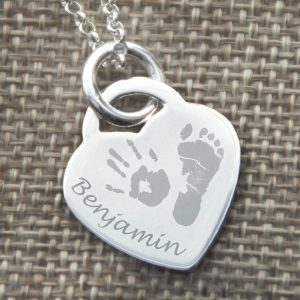 Sterling Silver Engraved Heart Necklace – 1 Child