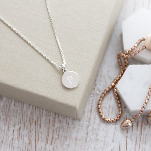 Sterling Silver Engraved Initial Disc Necklace