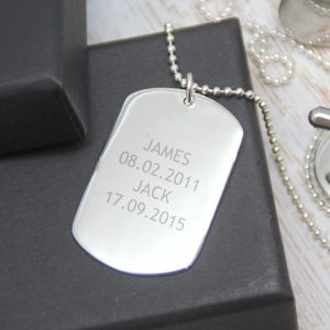 Sterling Silver Engraved 'Just Words' Dogtag Necklace