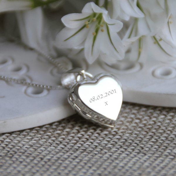 Sterling Silver Engraved 'Just Words' Heart Locket Bouquet Charm