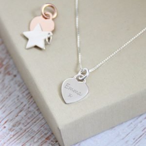 Sterling Silver Engraved Mini Heart Necklace
