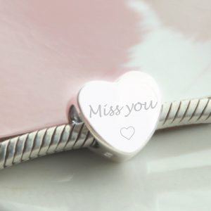 Sterling Silver Engraved 'Miss You' Bead