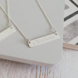 Sterling Silver Engraved Name Bar Necklace