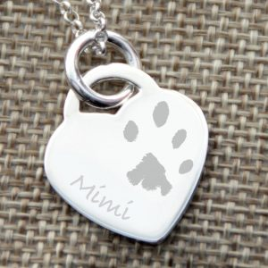 Sterling Silver Engraved Paw Print Heart Necklace