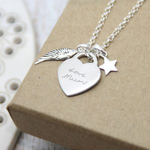 Sterling Silver 'Fly With The Angels' Necklace With Handwriting