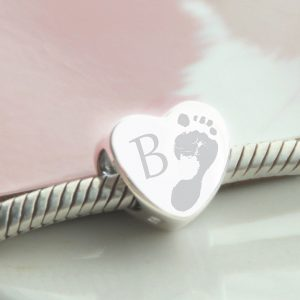 Sterling Silver Footprint with Initial Bead