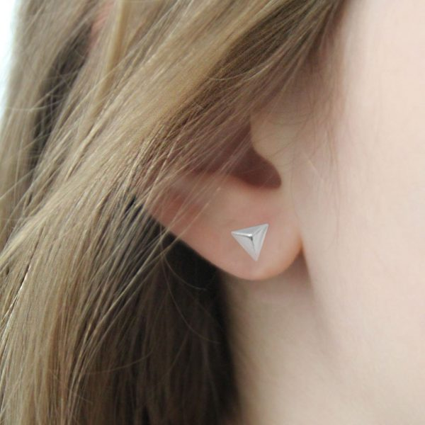 Sterling Silver Geometric Pyramid Earrings