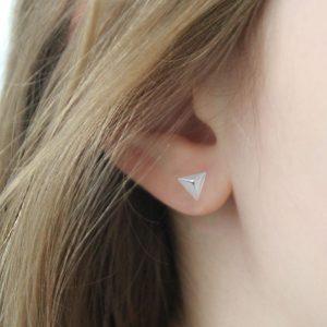 Sterling Silver Geometric Triangle Earrings
