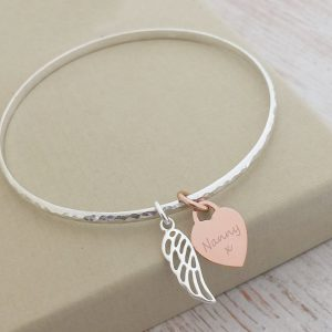 Sterling Silver Hammered Bangle With Rose Gold Engraved Heart Charm & Cutout Wing