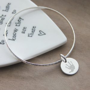 Sterling Silver Hammered Bangle with Engraved Hand Print Disc