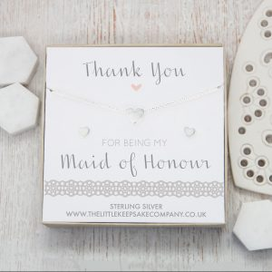 Sterling Silver Heart Gift Set - 'Thank You For Being My Maid Of Honour'