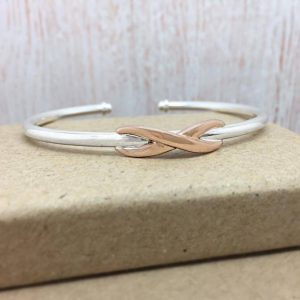Sterling Silver Infinity Bangle with Rose Gold Vermeil