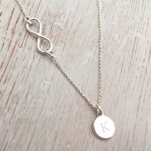 Sterling Silver Infinity Necklace With Initial Disc