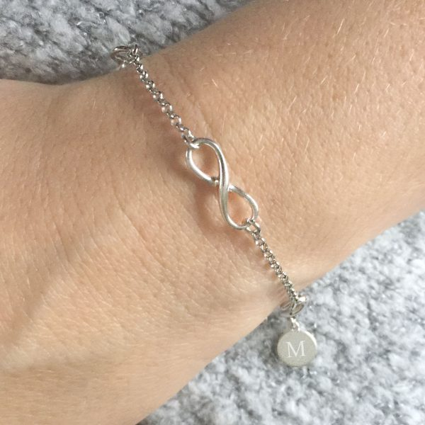 Sterling Silver Infinity Trio Bracelet with Engraved Disc