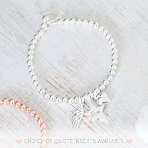 Sterling Silver Memorial Bracelet with Engraved Star Charm