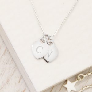 Sterling Silver Mini Heart Initial Necklace