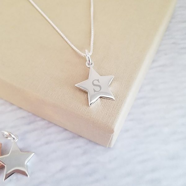 Sterling Silver Personalised Star Initial Necklace