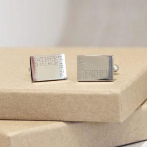 Sterling Silver Personalised Wedding Cufflinks