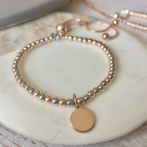 Sterling Silver & Rose Gold Ball Slider Bracelet With Initial Disc