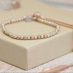 Sterling Silver & Rose Gold Ball Slider Bracelet
