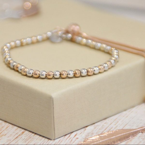 Sterling Silver & Rose Gold Ball Slider Bracelet