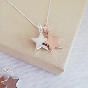 Sterling Silver & Rose Gold Duo Star Initial Necklace