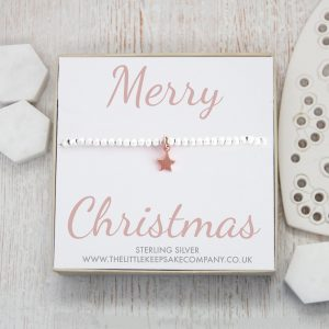 Sterling Silver & Rose Gold Star Slider Bracelet – 'Merry Christmas'