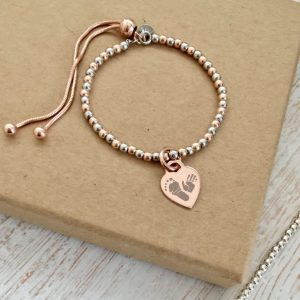 Sterling Silver & Rose Gold Vermeil Ball Slider Bracelet - Rose Gold Heart Charm With Prints